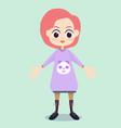 flat cute girl character design vector image