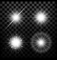 realistic star lights and glow light beam or vector image