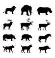 African animals silhouettes set 12 animals