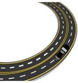 bend in the road with yellow and white markings vector image vector image