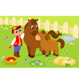 Boy with cute horse and colt vector image vector image