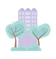 building urban street trees grass scene isolated vector image