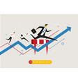 businessman runs forward to success vector image vector image