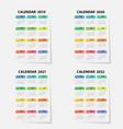 calendar 2019 2020 2021 and 2022 calendar vector image vector image