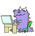 cartoon gamer croc played on laptop vector image vector image