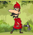 cartoon lumberjack with glasses standing with axe vector image