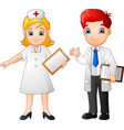 cartoon smiling doctor and nurse vector image vector image