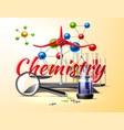 chemistry study at school poster 3d flask vector image