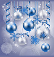 christmas background in blue and silver vector image vector image