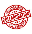collaboration round red grunge stamp vector image vector image