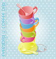 color of day in one week coffee cup vector image vector image