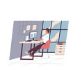cute funny man sitting at desk and working on vector image