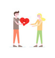 cute happy couple with red heart vector image