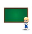 cute little blonde school boy with big green eyes vector image