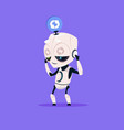 Cute robot updating software isolated icon on blue