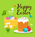 easter basket and cake greeting card vector image vector image