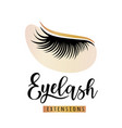 eyelash extensions logo with eye patch vector image vector image