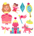 fairy tale set collection with accessories for a vector image