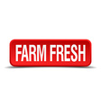 Farm fresh red 3d square button isolated on white vector image