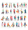flat icons people daily activity and shopping vector image vector image