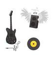flat music symbol vinyl guitar loudspeaker vector image vector image