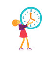 flat woman holding wall clock smiling vector image