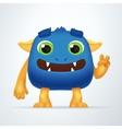 Funny blue and yellow cartoon alien monster vector image vector image
