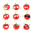 funny tomato - isolated cartoon emoticons vector image vector image