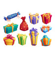 gift box icon of present packaging with ribbon bow vector image vector image