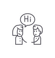 girl communicates with a guy line icon concept vector image