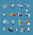 gmo related isometric icons set vector image vector image