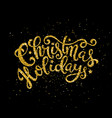 gold christmas holidays handwritten lettering vector image