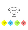 grey wifi locked sign line icon on white vector image vector image