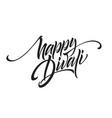 happy divali festival lights black calligraphy vector image