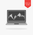 Laptop with candlesticks chart on screen icon vector image