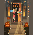 man and woman wait for monsters with candy tricks vector image vector image