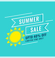 minimal summer sale poster with sun and offer vector image vector image