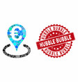 mosaic euro bank map marker with scratched hubble vector image vector image