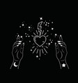 mystical woman hands alchemy esoteric sacred heart vector image vector image