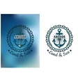 Naval heraldic badge with anchor and round chain vector image vector image