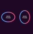 neon frame in oval shape template vector image
