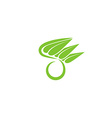 O letter organic green logo leaf eco icon concept vector image