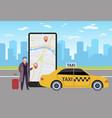 online taxi man calls taxi through application vector image