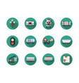 Railroad cars flat round icons set vector image
