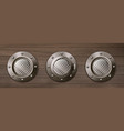 realistic ship portholes on wooden wall vector image vector image