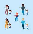 set mothers and fathers with their boys and vector image vector image