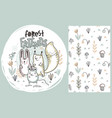 set of cute hand drawn forest animals and vector image vector image