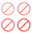 Set of red prohibition signs on white background vector image vector image