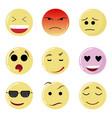 smile set face happy yellow emotion emoticon vector image vector image