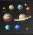 solar system planets galaxy icons vector image